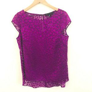 White House Black Market Purple Leopard Top